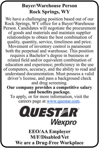 Buyer/Warehouse Person