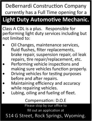 Light Duty Automotive Mechanic