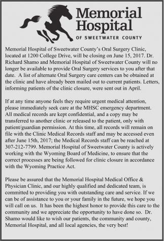 Memorial Hospital will be closing