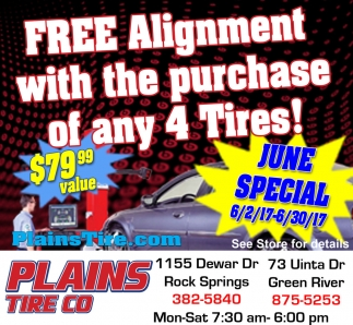 Free Alignment with the purchase of any 4 tires!