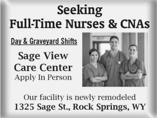 Seeking Full-Time Nurses and CNAs