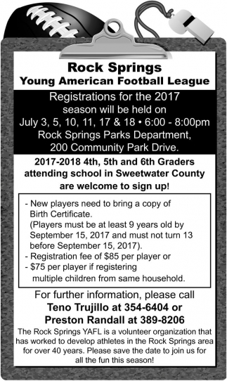 Registrations for the 2017 season
