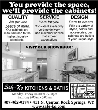 You provide the space, we'll provide the cabinets!