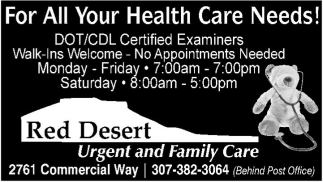 For all your health care needs!