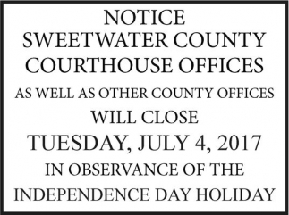 Will Close Tuesday, July 4, 2017