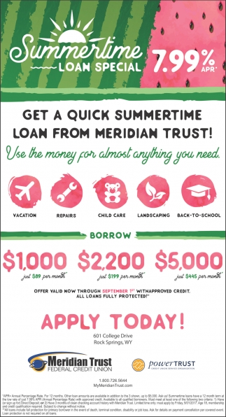 Summertime Loan Special