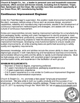 Improvement Engineer Church And Dwight Co Inc