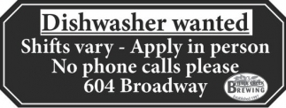 Dishwasher wanted