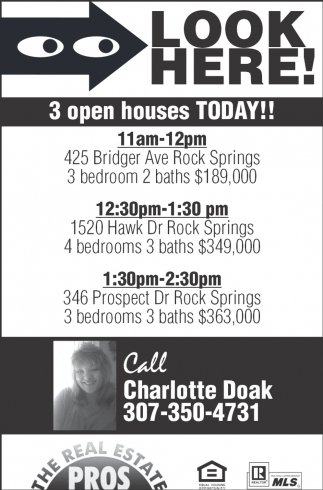 3 Open Houses Today!