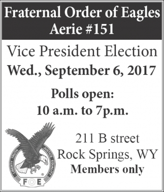 Nominations for Aerie #151 Vice President