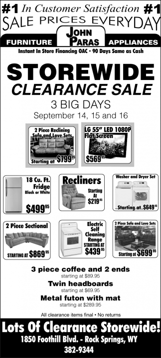 Wide Clearance John Paras Furniture And Appliances Rock Springs Wy