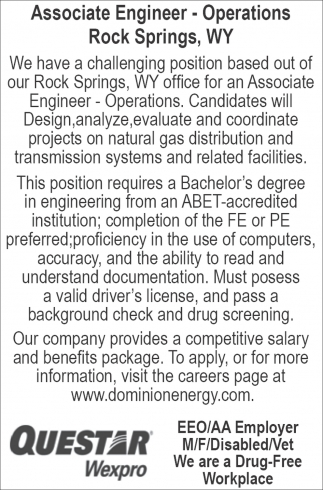 Associate Engineer - Operations Rock Springs, WY