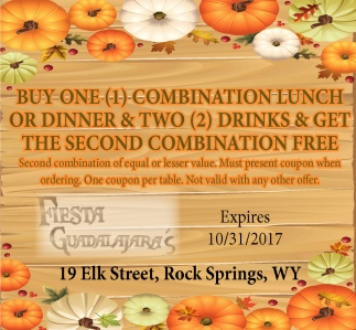 Buy One Combination Lunch or Dinner and Two Drinks and Get The Second Combination Free