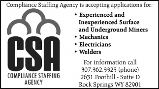 Compliance Staffing Agency is Accepting Applications for:
