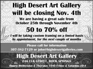 High Desert Art Gallery Will Be Closing Nov. 4th
