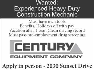 Wanted Experienced: Heavy Duty Construction Mechanic