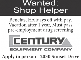 Wanted: Shop Helper