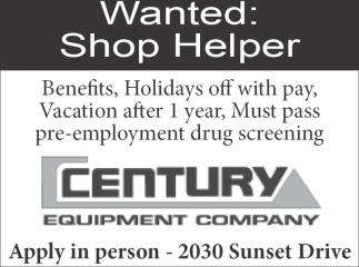 Wanted: Shop Helper