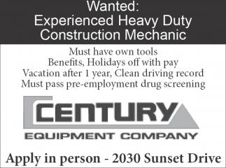 Wanted: Experienced Heavy Duty Construction Mechanic