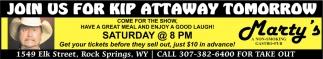 Join Us For Kip Attaway Tomorrow