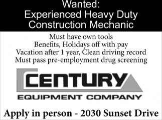 Wanted: Exoerienced Heavy Duty Construction Mechanic
