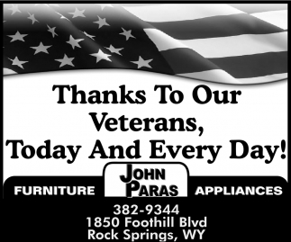 Thanks to Our Veterans, Today And Every Day!