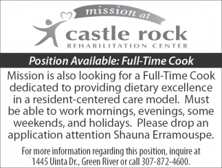 Position Available: Full-Time