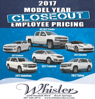 2017 Model Year Closeout Employee Pricing