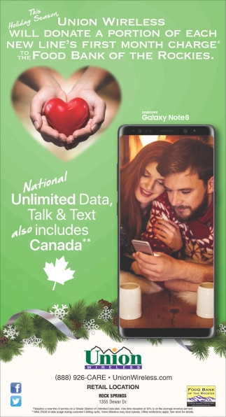 National Unlimited Data, Talk & Text also includes Canada