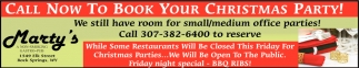 Call Now To Book Your Christmas Party!