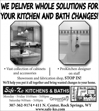 We Deliver Whole Solutions for Your Kitchen and Bath Changes!