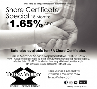 Share Certificate Special Trona Valley Federal Credit Union