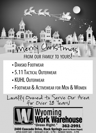Merry Christmas, Wyoming Work Warehouse, Rock Springs, WY