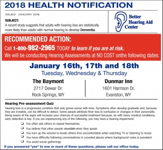 2018 Health Notification