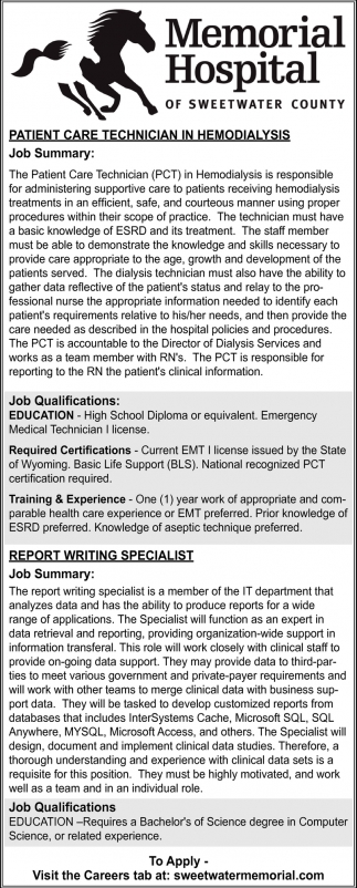 Job Summary Memorial Hospital Of Sweetwater County Rock Springs Wy