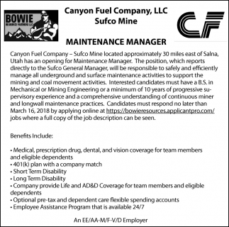 Maintenance Manager