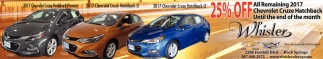 All remaining 2017 Chevrolet Cruze