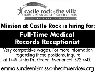 Full-time Medical Records Receptionist