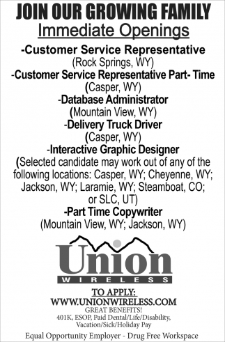 Join Our Growing Family Union Wireless Mountain View Wy