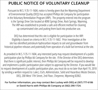 Public Notice of Voluntary Cleanup