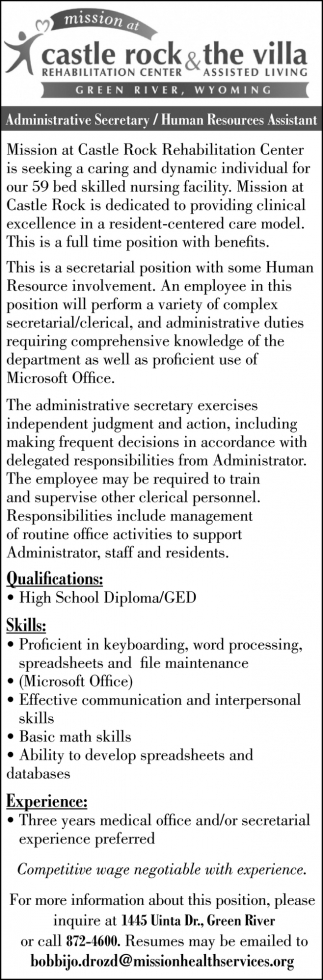 Administrative Secretary/Human Resources Assistant