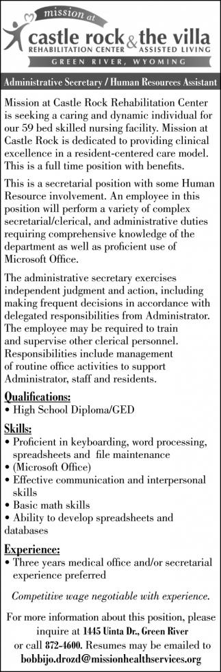 Administrative Secretary/Human Resources Assistant