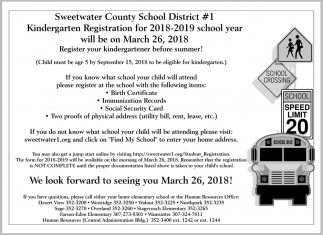 Kindergarden Registration for 2018-2019 School Year