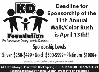 Deadline for Sponsorship of the 11th Annual Walk/Color Rush is April 13th