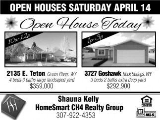 Open Houses Saturday April 14