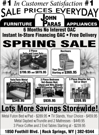 #1 In Customer Satisfaction, John Paras Furniture And Appliances, Rock  Springs, WY