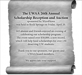 26th Annual Scholarship Reception and Auction