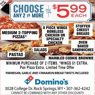Choose Any 2 or More for $5.99 Each