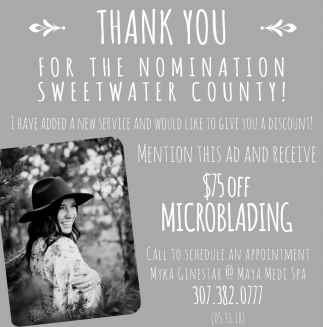 Thank You for th Nomination Sweetwater County!