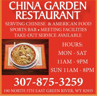 ads for china garden restaurant in green river wy - North China Garden